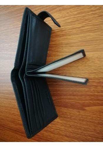 MS 27 Мъжки портфейл от естествена телешка кожа в черно