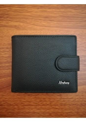 MS 34 Мъжки портфейл от естествена телешка кожа в черно