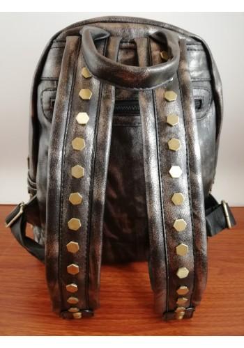 Q 2885  Дамска раница от луксозна еко кожа - бронзова