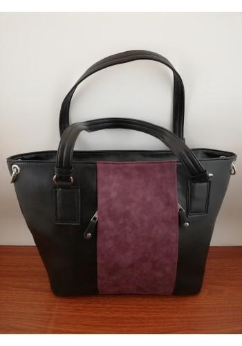 S 549 Дамска чанта тип лодка от висококачествена еко кожа в черно и бордо