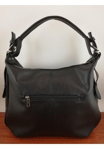 S 035 Дамска чанта от висококачествена еко кожа тип торба в ЧЕРНО