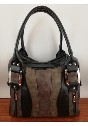 S 036 Дамска чанта от висококачествена еко кожа в ЧЕРНО и КАФЯВО