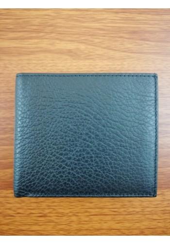 S 1121 Мъжки портфейл от естествена телешка кожа в черно с външен монетник