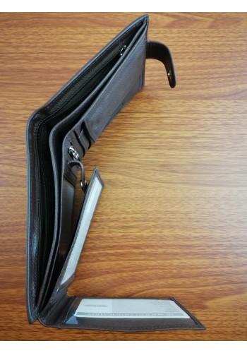 S 8941 Мъжки портфейл от естествена телешка кожа в кафяво с много отделения
