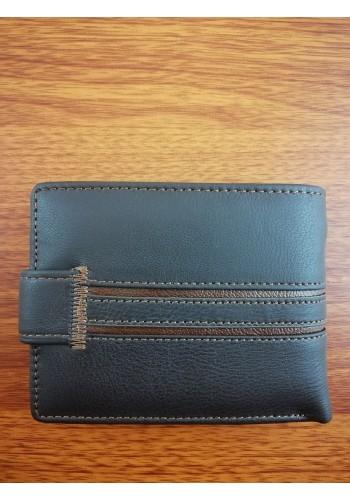 S 232 - 9 Малък мъжки портфейл от естествена телешка кожа в тъмно кафяво