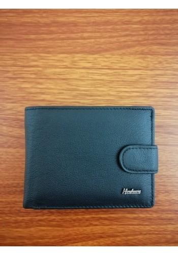 S 61635  Мъжки портфейл от естествена телешка кожа в черно с много отделения