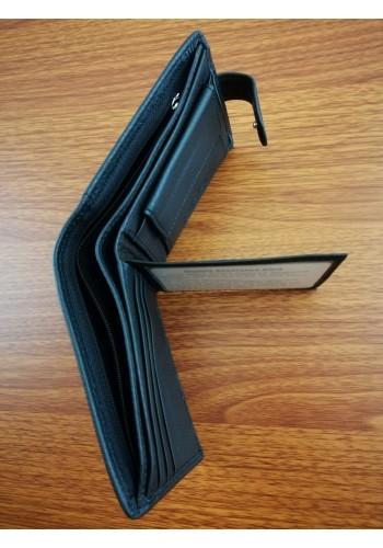 S 1301  Мъжки портфейл от естествена телешка кожа в черно