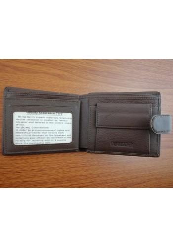 S 1301 - 9 Мъжки портфейл от естествена телешка кожа в тъмно кафяво