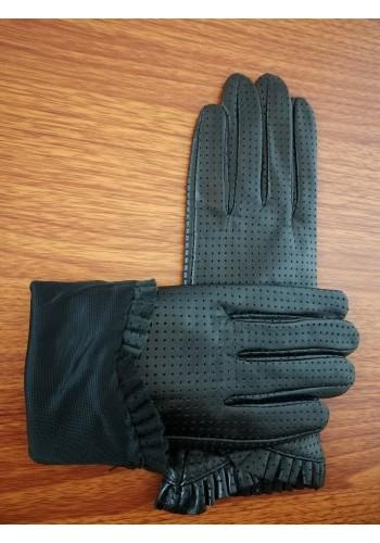 LUX 004 - 1 Дамски ръкавици от луксозна естествена кожа в черно перфорирани изцяло без подплата