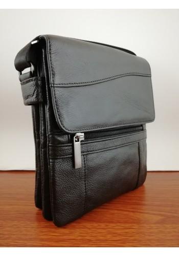 S 1311 Мъжка чанта от естествена телешка кожа за през рамо в черно