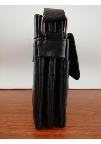 S 106 Мъжка чанта от естествена телешка кожа за през рамо в черно