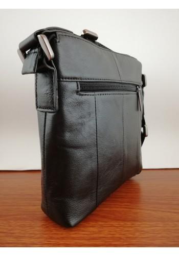 S 1103-1 Мъжка чанта от естествена телешка кожа черна за през рамо