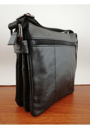 S 107 Мъжка чанта от естествена телешка кожа за през рамо в черно