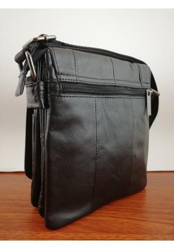 S 6203A Мъжка чанта от естествена телешка кожа за през рамо в черно
