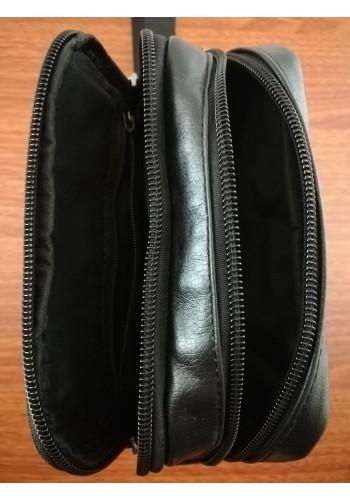 S 2238 Мъжка чанта от естествена телешка кожа черна за през рамо