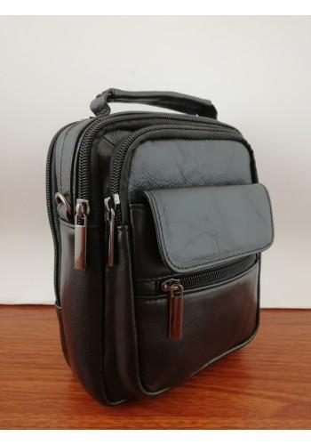 S 8032А Мъжка чанта от естествена телешка кожа черна за през рамо и в ръка