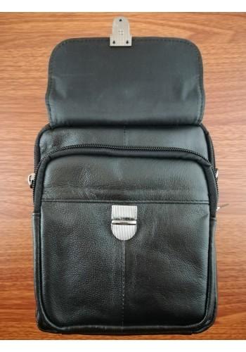 S 332 Мъжка чанта от естествена телешка кожа в черно за през рамо и в ръка