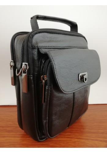 S 331 Мъжка чанта от естествена телешка кожа в черно за през рамо и в ръка
