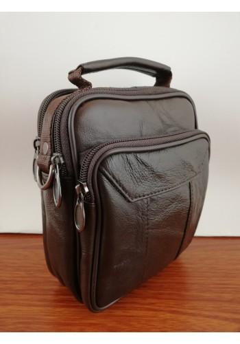 S 8179 Мъжка чанта от естествена кожа - телешки бокс изчистена кафява за през рамо и в ръка