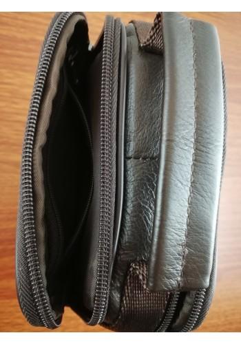 S 5010 Мъжка чанта от естествена кожа - телешки бокс изчистена кафява за през рамо и в ръка - малка