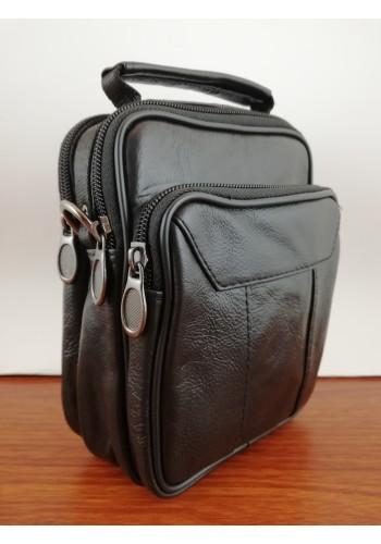 S 8179 Мъжка чанта от естествена кожа - телешки бокс изчистена черна за през рамо и в ръка