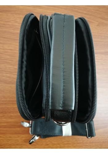 S 5010 Мъжка чанта от естествена кожа - телешки бокс изчистена черна за през рамо и в ръка - малка