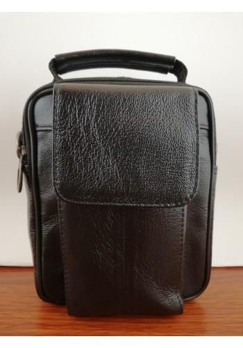 S 5412 Мъжка чанта от естествена кожа - телешки бокс изчистена черна за през рамо и в ръка