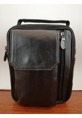 S 5413 Мъжка чанта от естествена кожа - телешки бокс изчистена черна за през рамо и в ръка