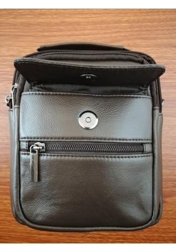 S 8032 Мъжка чанта от естествена телешка кожа кафява за през рамо и в ръка