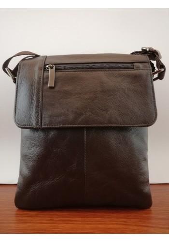 S 38032 Мъжка чанта от естествена телешка кожа за през рамо в кафяво - изчистена