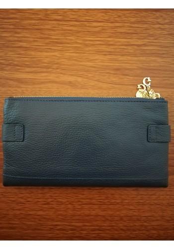 SA 889 - 919 Дамски портфейл от естествена кожа в тъмно синьо с много отделения