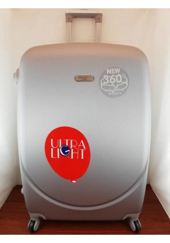 """S 203754 Куфар от PVC полимер - голям """"L"""" размер на 4 колела в СИВО - СРЕБРИСТО 76/48/30 см"""