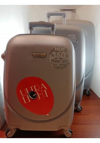 """S 203703 Комплект тройка куфари от PVC полимер """"S/M/L"""" размери на четири колела цвят СИВО - СРЕБРИСТО"""