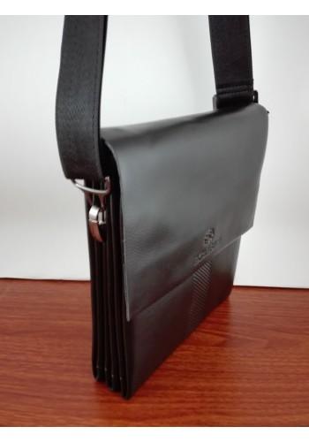 """S 6002-3  Мъжка чанта от естествена кожа """"EXCLUSIVE"""" за през рамо изчистена - черна"""