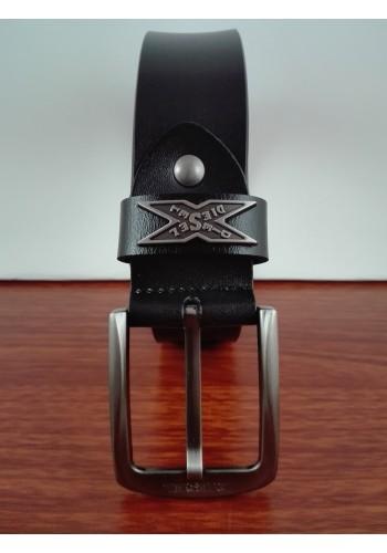 1050 - 12  Мъжки колан от естествена телешка кожа в черно - универсален