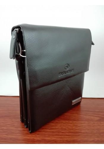"""S 8026-0E Мъжка чанта """"EXCLUSIVE"""" от естествена кожа изчистен модел за през рамо с три прегради"""