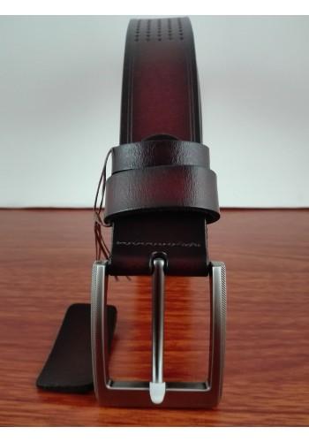 S 1512  Мъжки луксозен колан от естествена телешка кожа в кафяво - универсален - перфориран