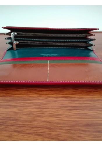 SL 203-1  Дамски портфейл от италианска естествена кожа в бордо и кафе с външен монетник