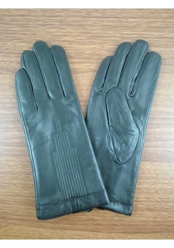 S 069 Нов модел дамски ръкавици от естествена ярешка кожа в черно