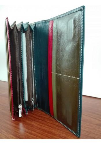SL 203-3  Дамски портфейл от италианска естествена кожа в тъмно синьо със зелено с външен монетник