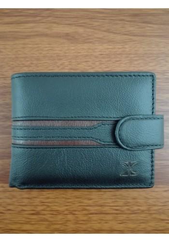 S 232 - 9 Малък мъжки портфейл от естествена телешка кожа в черно