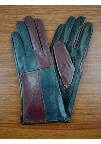 S 068 Нов модел дамски ръкавици от естествена ярешка кожа в синьо с бордо