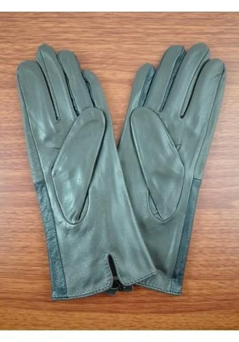 S 068 Нов модел дамски ръкавици от естествена ярешка кожа в синьо със сиво