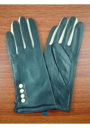 S 067 Нов модел дамски ръкавици от естествена ярешка кожа в синьо с бежови пръсти