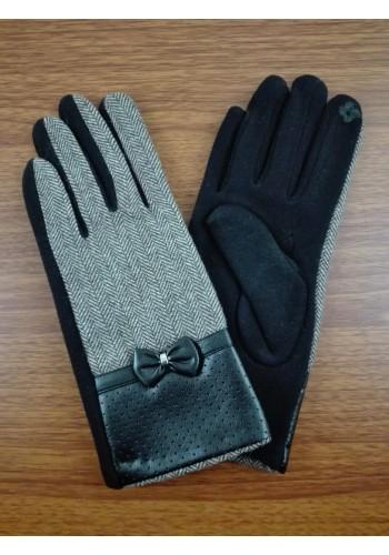 S 888  Текстилни дамски ръкавици комбинирани с кожа - оцветени в черно с бежово
