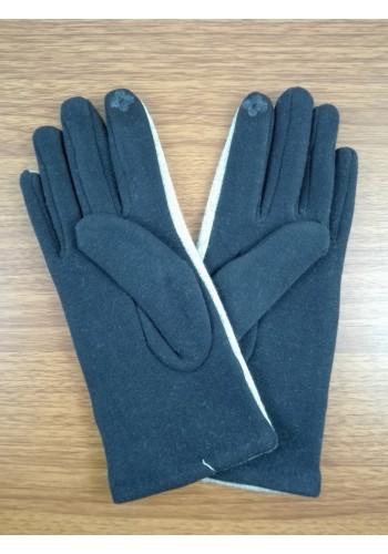 S 777-3  Текстилни дамски ръкавици в бежово с тъмно синьо