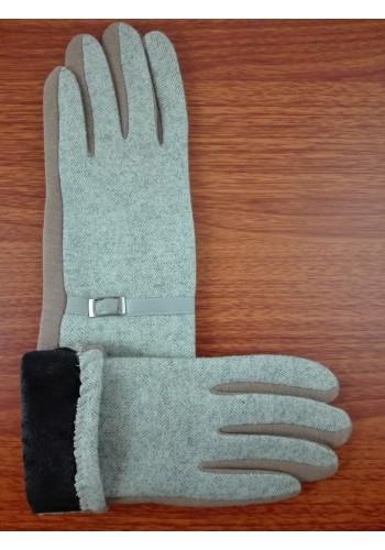 S 777-2  Текстилни дамски ръкавици в  бежово с капучино