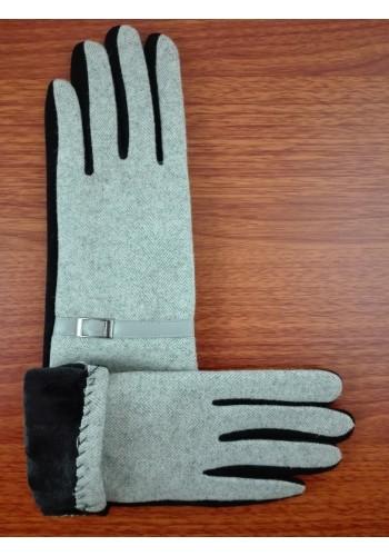 S 777-1  Текстилни дамски ръкавици в черно с бежово