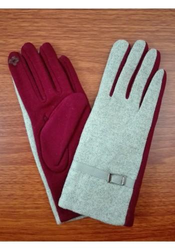 S 777-4  Текстилни дамски ръкавици в  бежово с бордо