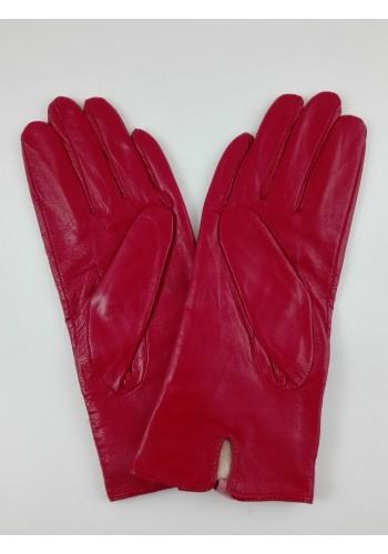 S 044  Нов модел дамски ръкавици от фина естествена ярешка  кожа в червено